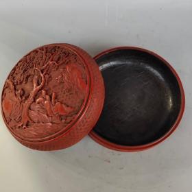 剔红漆器盒《松下论道》尺寸如图,重620克