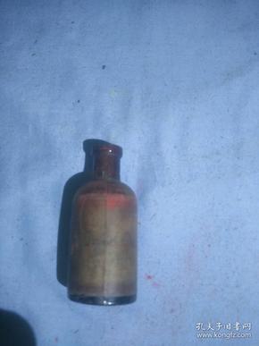 (箱6)民国左右  玻璃药瓶,上有英文签字,尺寸7.5*3.2cm