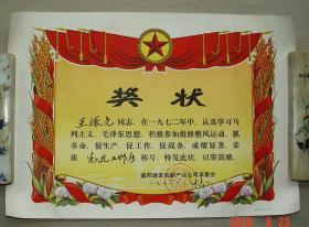 奖状 先进工作者  益阳地区农副产品公司革委会  1973年  益阳 农副产品  革委会