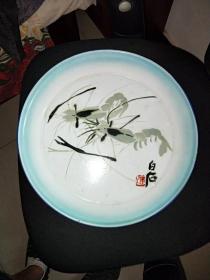 5号老搪瓷盘齐白石的虾36/36Cm。品相如图包老包真原汁原味很有收藏价值。