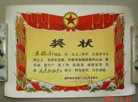 奖状 民兵积极分子  益阳地区农副产品公司革委会  1973年  益阳 农副产品  革委会