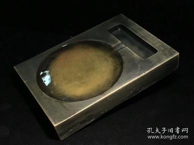 文房雅玩.清代长方素池红丝石砚台.