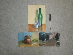 水彩画三幅 小品 原稿手绘真迹