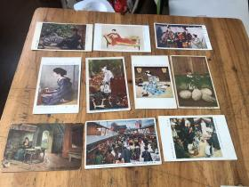 3014:民国日本 第二回帝国美术展览静夜(闻香  妇女 徒然  化妆 地藏祭 )及其他 人物风景 彩色明信片 10张,其中有一张邮寄过