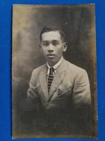 1924年男子签名明信片照片,显影和相纸质量好