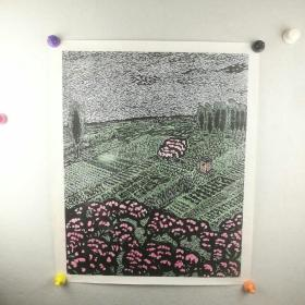 保真字画 【佚名】 丝网版画 <塬上春色>