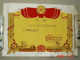 奖状 民兵积极分子   益阳地区农产品公司  1975年  益阳 农产品  革委会