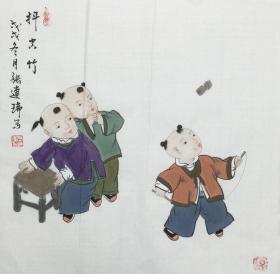 【保真】【张连瑞】中美协会员、希望出版社副总编、美术编审、手绘三尺斗方人物作品(50*50CM)。