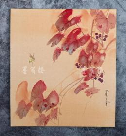 日本绢面卡纸水墨画一件(尺寸26.7*24cm)   HXTX104296