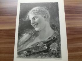 【现货 包邮】1890年木刻版画《有趣的想法》Lustige Gedanken 尺寸约41*28厘米 (货号602085)