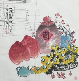 【保真】【陈书雅】河南省美协会员、中国书画研究社会员、手绘四尺斗方花鸟作品(68*68CM)。(贺寿图)