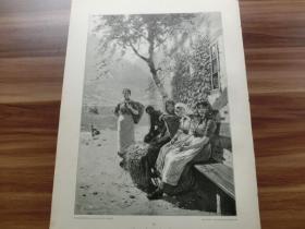 【现货 包邮】1890年木刻版画《歇歇脚》( Die Rast ) 尺寸约41*28厘米 (货号602087)