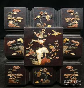 旧藏清代酸枝木镶玉镶贝壳盒子,重量2.5公斤代理转图可以加价,运费自理。