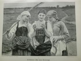【现货 包邮】1890年木刻版画《回家路上》(Auf dem Heimwege) 尺寸约41*28厘米 (货号602088)