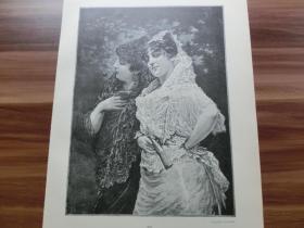 【现货 包邮】1890年木刻版画《公园里的两位女士》(Im parke zu Sevilla) 尺寸约41*28厘米 (货号602089)