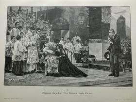 【现货 包邮】1890年木刻版画《Des Sohnes erste Messe》 尺寸约41*28厘米 (货号602090)