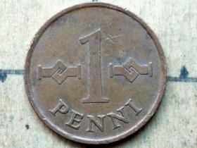 015 外国硬币:1967年【芬兰硬币】1盆尼 世界外国硬币古玩收藏保真品包老