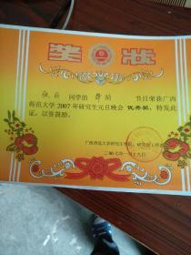 奖状(研究生)民族舞蹈二等奖