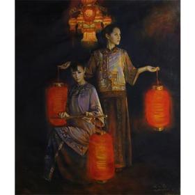 提灯笼的女人 人物(布面油画)