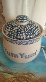 老青花 盖罐 瓷器 盖有纹