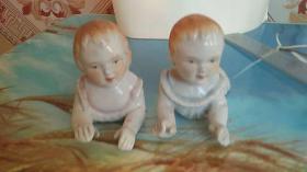 俩小孩 瓷器 一对
