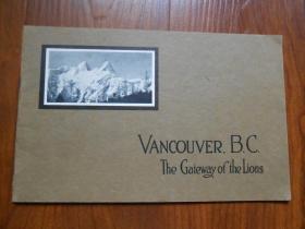 民國16開風景圖《VANCOUVER ,B.C.THE GATEWAY OF THE LIONS》溫哥華,不列顛哥倫比亞省,獅子之門