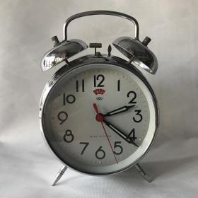 七八十年代怀旧老闹钟双菱牌全铜机芯马蹄闹钟机械上弦正常走时