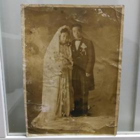 民国大幅婚纱合影照片