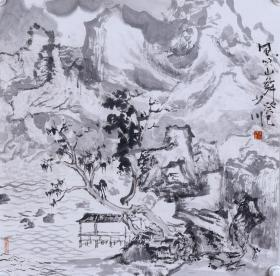 師從張志民、著名畫家 王少川 水墨畫作品《風吹山舞》一幅 (紙本托片,約4平尺;作品由《中國美術市場報》直接得自于藝術家本人) HXTX100521