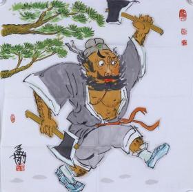 著名畫家、國家一級美術師 耿孟剛 水墨人物畫作品 《李逵下山》一幅( 紙本托片,約4平尺;作品由《中國美術市場報》直接得自于藝術家本人) HXTX100531