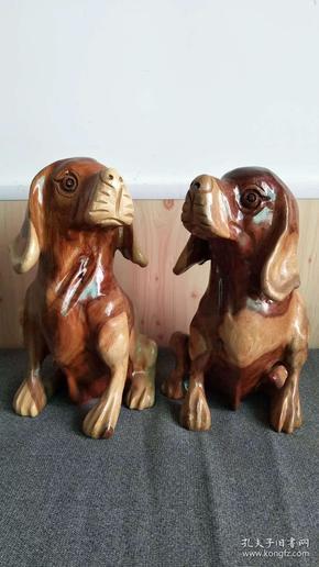 香樟木手工雕刻旺财狗摆件一对