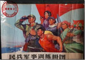 【民兵军事训练挂图】,新中国早期军事题材版画宣传画,一九七二年北京军区司令部编印,尺寸:53厘米×38厘米,共1张,有塑封保护袋。   ● 民兵对于现如今的年轻一辈来说,基本上是陌生的。但是对于老一辈来说,是再熟悉不过的了,作为常备军的助手以及后备力量,民兵平时除了正常的耕作以外,还要进行军事训练,一旦爆发战事,就可以应招入伍,奔赴前线。