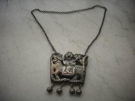 清末民国【麒麟送子】银挂锁!双面工艺完整一套!挂锁尽尺寸6/6厘米