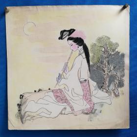 八十年代南京手绢厂画稿《仕女》图