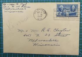 1947年9月10日美国( 密尔沃基互寄)实寄封贴早期邮票1枚