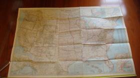 外国地图1956年《美国地图THE UNITRD STATES》货号1-1