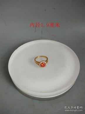 天然白钻红宝石老戒指