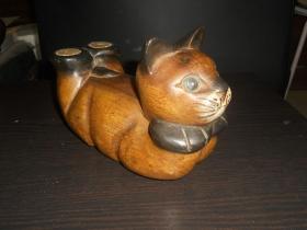 可爱猫咪木雕摆件(尺寸约:19*9*12.5公分)