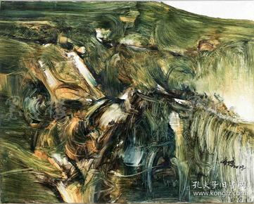 """著名油画家、高级室内设计师 高峰 2018年布面油画作品""""无垠绿洲""""一幅(尺寸:40*50cm)HXTX103802"""