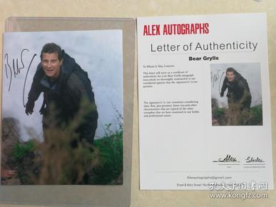 《荒野求生》贝尔 亲笔签名 十寸照片 附证书 两张可选