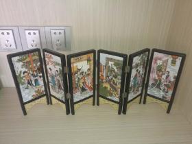 《红楼梦》金陵十二钗瓷板画屏风《六条屏》