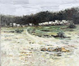 """著名油画家、南山郡画院副院长 楼塔 布面油画作品""""湖色""""一幅(尺寸:60*70cm)HXTX103803"""
