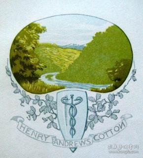 """""""瑞士艺术家""""(Alfred Peter)木刻套色藏书票—《山谷的小河》 1910"""