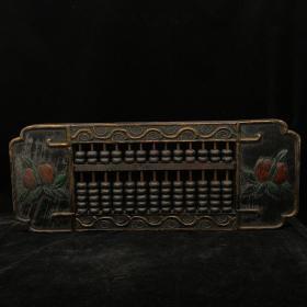漆器木器算盘~精品漆器描金老算盘摆件~古风古玩杂项捡漏~ 老货旧货文玩收藏