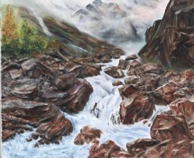 """著名油画家 俞果 布面油画作品""""高山水源""""一幅(尺寸:50*60cm)HXTX103806"""
