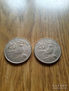 塞浦路斯镀铜币20元(1985年)小鸟樱桃图