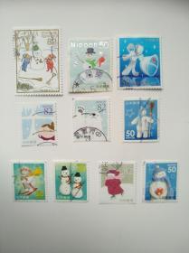 日本邮票·动漫卡通冬季10信