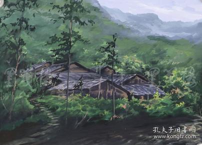 """著名油画家  王胜 2018年水彩画作品""""村色""""一幅(尺寸:37.5*52cm)HXTX103810"""
