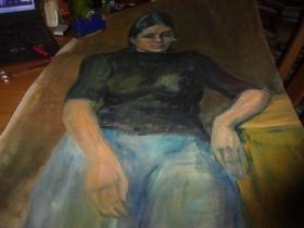 布面油画--女人肖像--无款,但同批画家为刘英画--大幅--品以图为淮