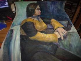 布面油画--女人肖像 侧身--无款,但同批画家为刘英画--大幅--品以图为淮